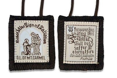 Official Our Lady of Mount Carmel Brown Scapular - 100% Wool! 1-Pack