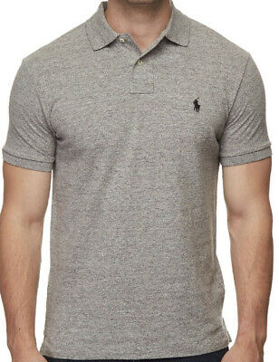 Ralph Lauren Custom Fit Short Sleeve Polo Shirt, Navy and Grey