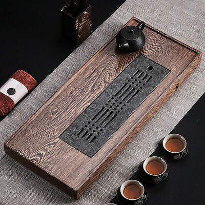Tea Tray Wenge Wood Black Stone Tea Table Water Draining Serving Tray Large Tray