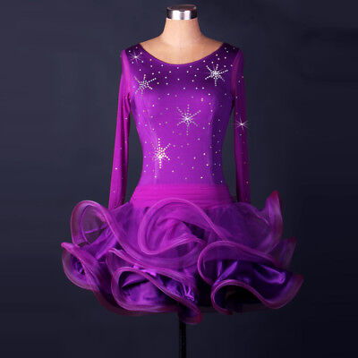 Latin Ballroom Dance Dress Modern Salsa Waltz Standard Long Dress#F153