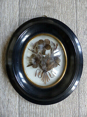 SUPERB ANTIQUE FRENCH SENTIMENTAL MOURNING HAIR ART 1870's (#3)