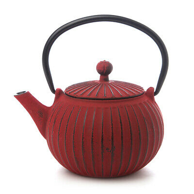 NEW Teaology Red Ribbed Cast Iron Teapot 500ml
