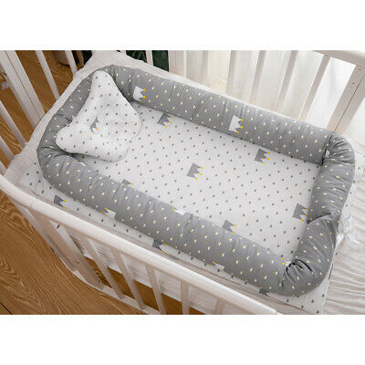 35'' 100% Cotton Baby Bassinet For Bed Grey Crown Newborn Lounger Sleeping Nest