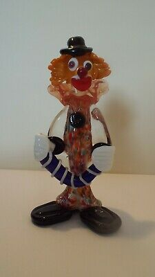 Murano style glass clown figure black hat and buttons with clear dickie bow coll