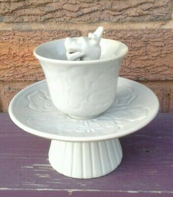 Antique Chinese Celadon Dragon Trick Cup & Saucer