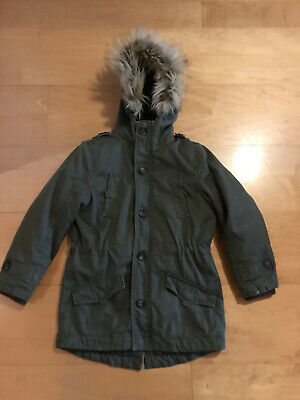 Girls parka coat Age 7-8 years khaki very warm with detachable lining fur hood