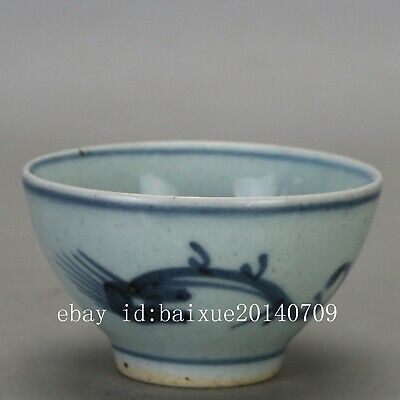 Chinese old hand-carved porcelain Blue and white ssangyong Kung fu tea cups b01