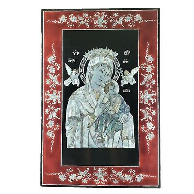 Our Lady of Perpetual Help Madonna Jesus Byzantine Icon Mother of Pearl Mosaic