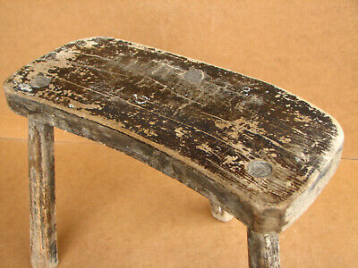 Old Antique Primitive Wooden Wood Chair Three Legged Milking Stool Early 20th