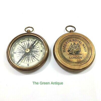 Antique Brass Compass Nautical Collectible Gift