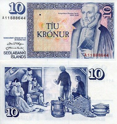 ICELAND 10 Kronur World Paper Money UNC Currency Pick p48 Sign set 38 Bill Note