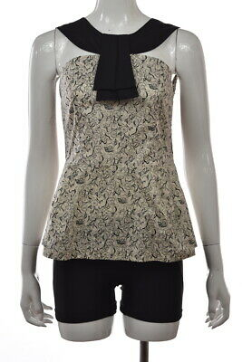 Girls From Savoy Womens Top Size 6 Black Floral Blouse Shirt Sleeveless Cotton