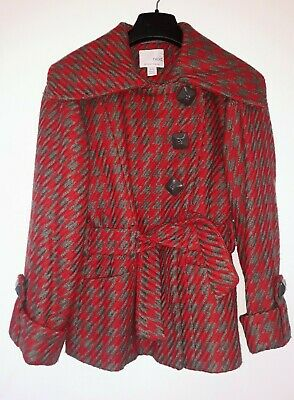 Cute Girls Winter Jacket,Large Dogtooth,Wool Content,Age 9-10,Next Red,Grey