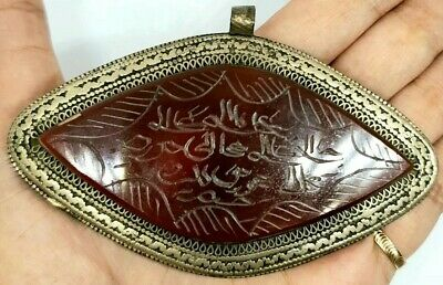 Afghan Natural Agate Intaglio Engraved Islamic Writing Inlaid Pendant Triangle