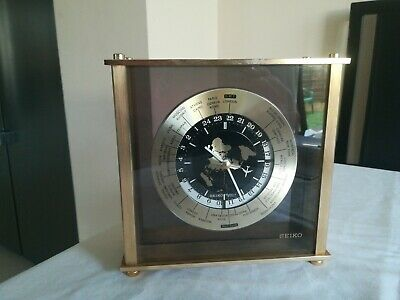 Vintage Seiko Quartz Desk Mantle World Time Zone Clock w Aeroplane Second Hand