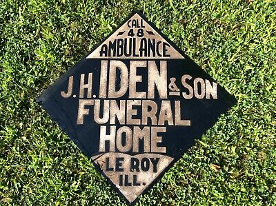 Glass Bead J.h. Iden Son Funeral Home Outdoor Reflective Sign Ambulance Mortuary