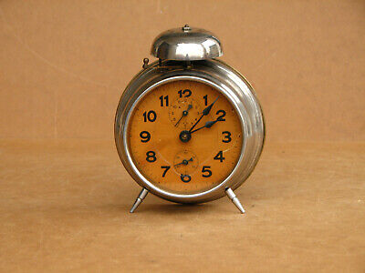 Old Antique Vintage German Alarm Desk Clock Hamburg American about 1920's.
