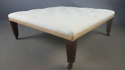 Large Buttoned Footstool with Square Tapered Mahogany Legs