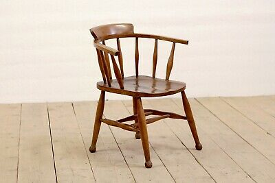 Antique Victorian Rustic Solid Oak Stick Back Office Dining Captains Chair