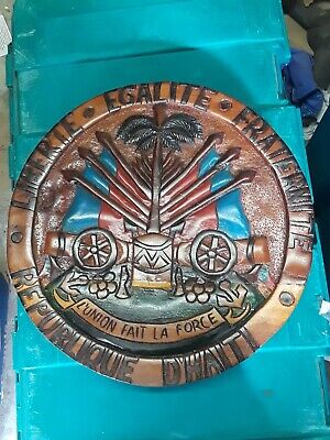 LARGE Vintage HAITI Coat of Arms HAND CARVED WOOD Wall Plaque HAND PAINTED!