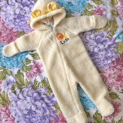 Vintage Dr. Denton Lion Pajamas Fleece Footed Bunting Costume w Hood 6-12 mos