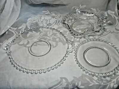 3 Pieces Vintage Candlewick Glass Dishes/Underplates, Bon-Bon Candy Bowl Nappy