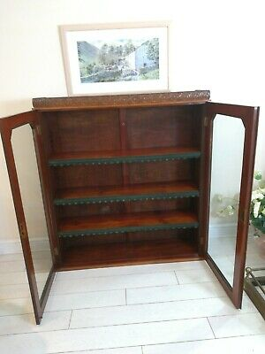 Antique Double Glazed Bookcase Cabinet Mahogany Double Doors Very Large