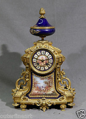 French 19th Century Sevres Bronze and Porcelain Clock W/ Hunting Scene Horses
