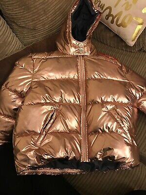 River Island - Rose Gold Padded Warm Winter Coat Girls - 9-10 Years