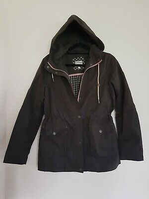 *NEW* FAT FACE Dark Grey Hooded Jacket Cotton Lined Coat Size 12 M BNWOT