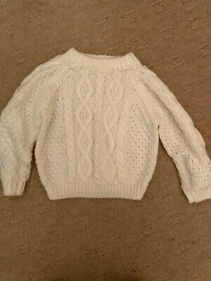 Lovely Childs Knitted Aran Jumper Circa Age 1.5-3 Years Cream Slightly Used