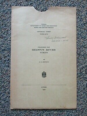 Map Selwyn River Yukon Canada Dept of Mines 1944 with Envelope Poster Size