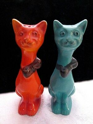 1940's COOL KITTY CATS Salt Pepper Shakers SLEEK NECKS WEARING BOW TIES ~JAPAN~