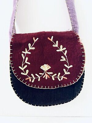 Authentic From Nepal Tibet Vintage Handmade Sewn Purple Wool Cotton Shoulder Bag
