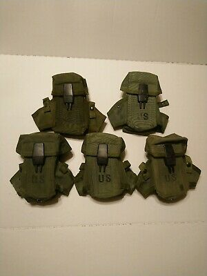 (5) US Military GI MilSurp 3 Mag Pouch with Alice Clips .223/5.56