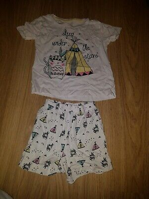 "Girls Matalan "" Sleep under the stars"" printed pjs..shorts/top....age 4-5 years"