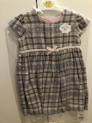 Brand New With Tags Baby Girls Pink and Grey Tartan Dress George 9-12 Months