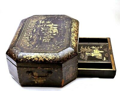 19C Chinese Export Gilt Lacquer Wood Sewing Box Chest Chinoiserie Figure