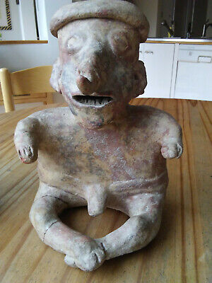 Pre-Columbian Protoclassic Nayarit Redware Seated Nude Male Figure