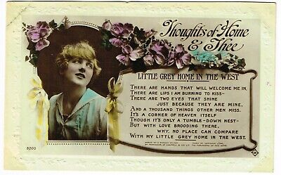 ANTIQUE 'THOUGHTS OF HOME & THEE (Little Grey Home in the West)' POSTCARD used