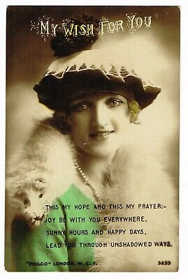 ANTIQUE COLORISED 'My Wish for You' POSTCARD early 1900s (Philco, London)