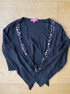 Girls Pineapple Black Sequin Party Cropped Jacket - Age 13-14 Years - Worn Twice