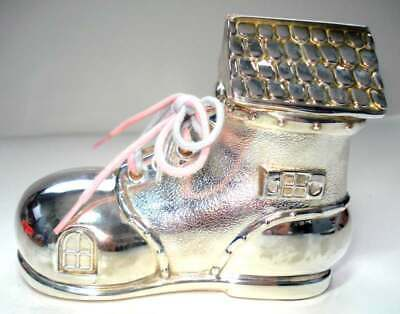 """Beautiful Silver Plated Piggy Bank """"Old Woman Who Lived in a Shoe"""" 5"""" W x 4""""H"""