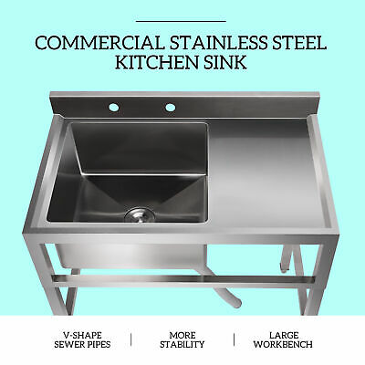1 Compartment Utility Sink Stainless Steel Prep Sink W Drain Board Kitchen Sink