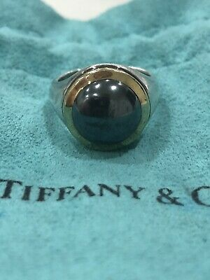 1999 Tiffany & Co. Authentic Sterling & 18K Hematite Ring