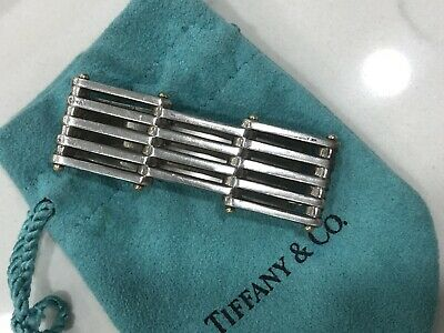 Tiffany & Co Sterling Silver w/ 18kt Yellow Gold Gate Link Money Clip