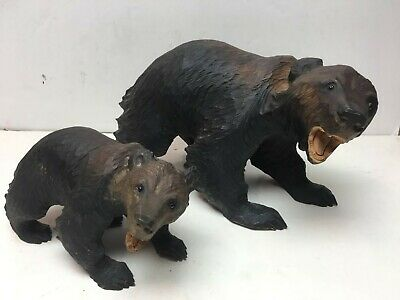 VINTAGE JAPANESE AINU BEAR PAIR Sculpture Wooden Japan Carving OLD Antique Wood