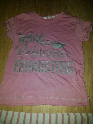 "Girls  Matalan Pink/white "" Being a  princess is Exhausting"" pjs....age 6 years"