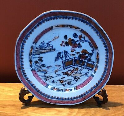 Antique 18th Century Qing Chinese Export Porcelain Famille Rose Plate / Bowl