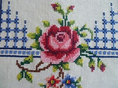 VINTAGE STUNNING  HAND EMBROIDERED CROSS-STITCH ROSES RUNNER  83 cms x 34 cms